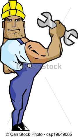 268x470 Strong Worker Man Holding Spanner. Created With Adobe Vector