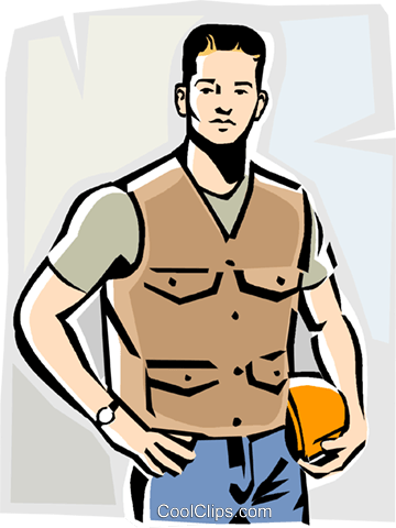 360x480 Blue Collar Working Man Royalty Free Vector Clip Art Illustration