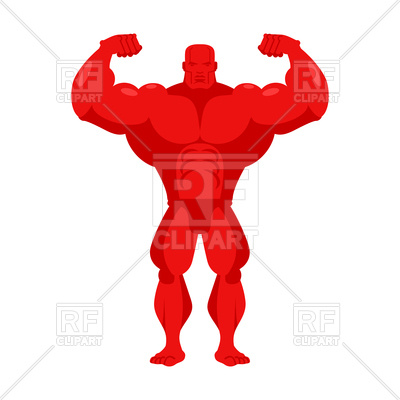 400x400 Bodybuilder Red Cartoon Royalty Free Vector Clip Art Image