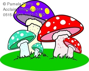 300x238 Clip Art Illustration Of Colorful Mushrooms In The Grass