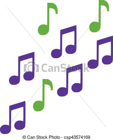 380x470 Green And Lila Music Notes Clip Art Vector