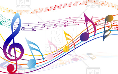 400x250 Multicolour Musical Notes Staff Background Royalty Free Vector