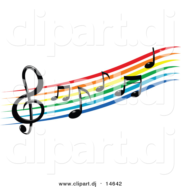 600x620 Vector Clipart Of A Rainbow Staff And Music Notes By Vector