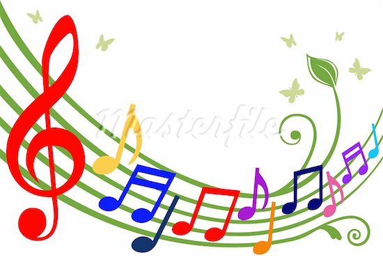 550x389 Colorful Music Staff Clipart