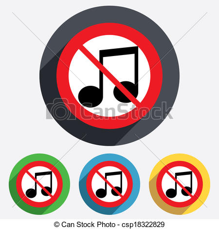 450x470 No Music Note Sign Icon. Musical Symbol. Keep Quiet. Red Clip