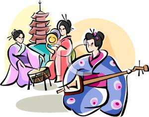 300x236 Geishas Playing Musical Instruments Clip Art Image