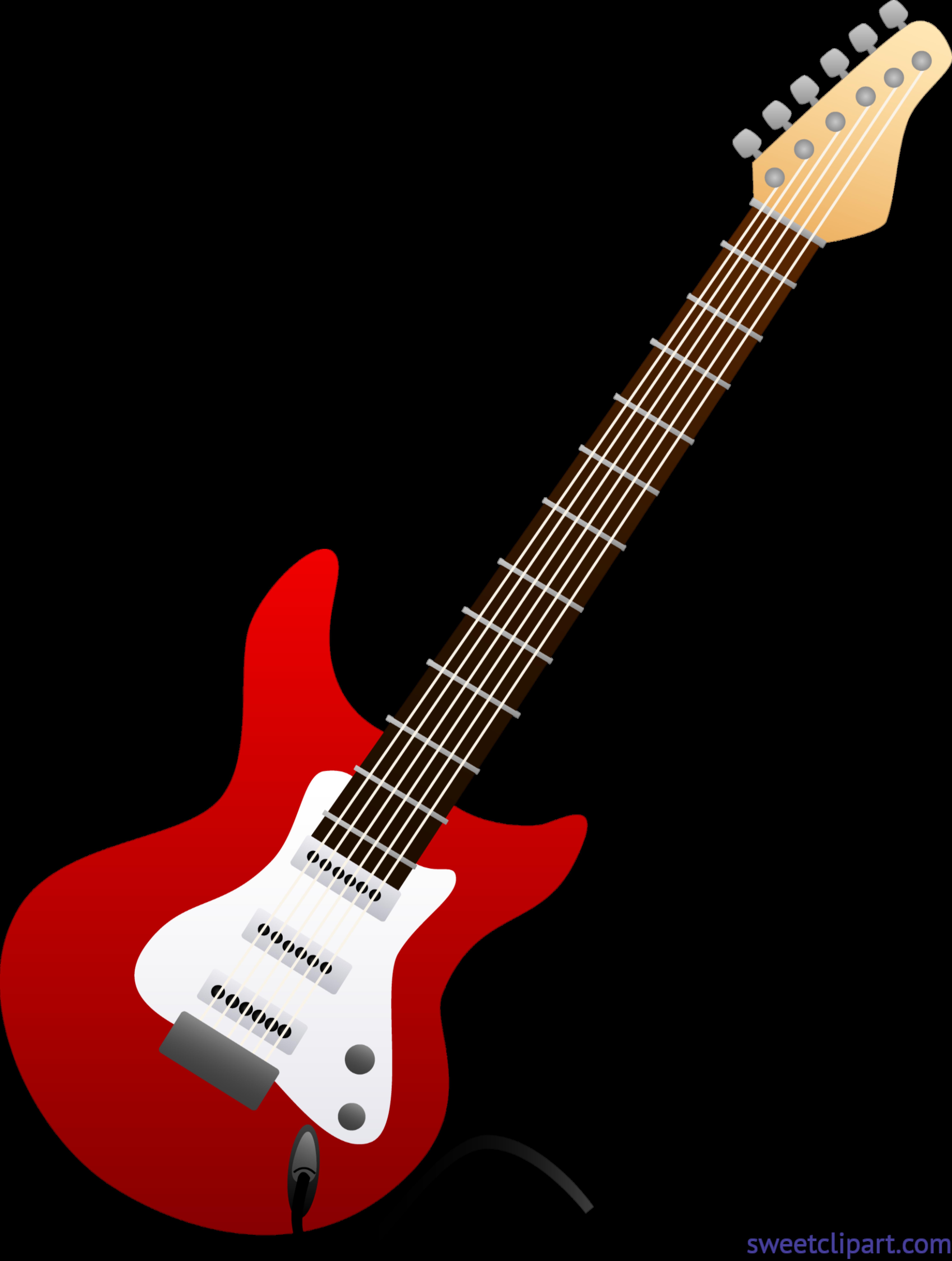 5971x7908 Electric Guitar Red Clip Art