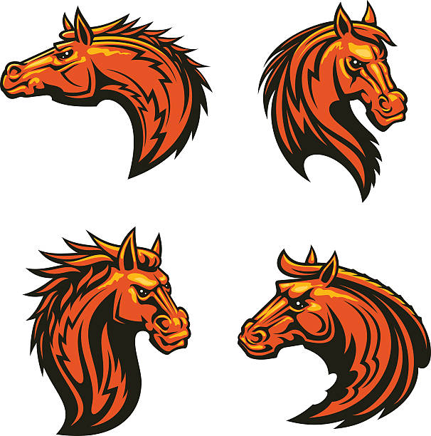 606x612 Flaming Mustang Clipart