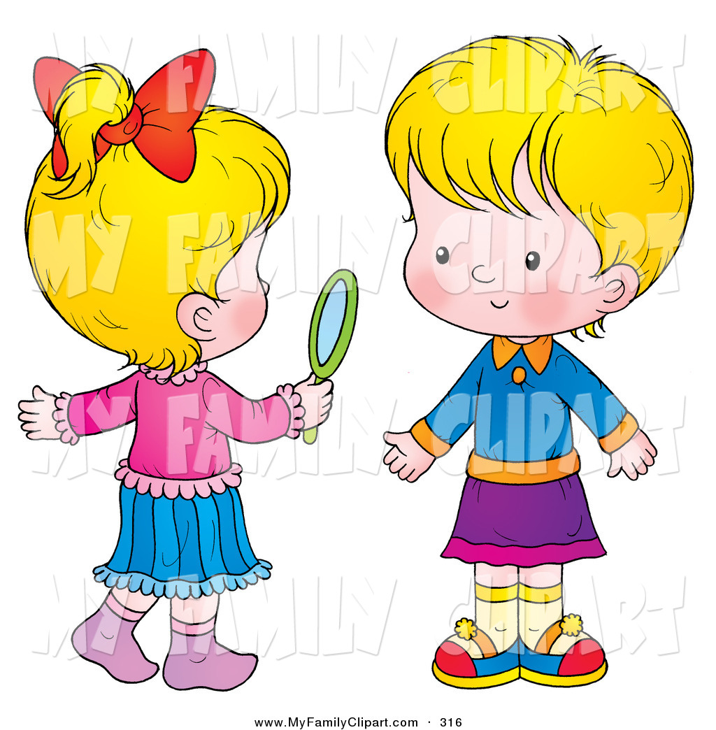 1024x1044 Clip Art Of A Pair Of Little Blond Girls, One Holding A Hand