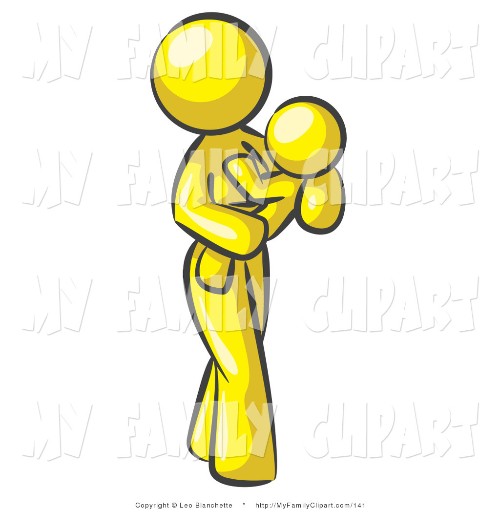 1024x1044 Clip Art Of A Yellow Mother Carrying Her Child In Her Arms