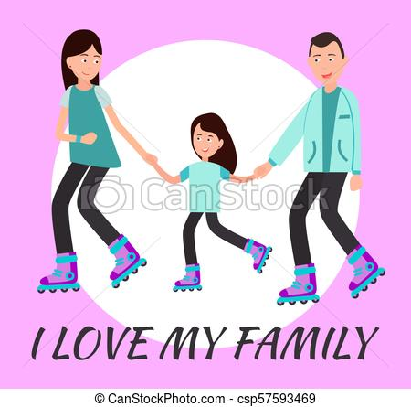 450x445 I Love My Family Poster Circle For Text Backdrop. I Love My Family