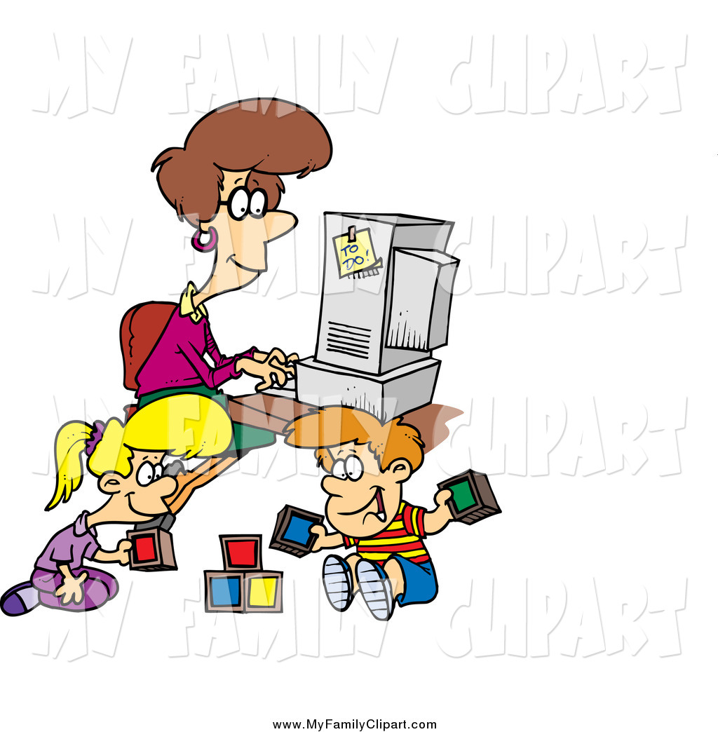 1024x1044 Clip Art Of A Cartoon Brunette White Woman Working On Her Computer