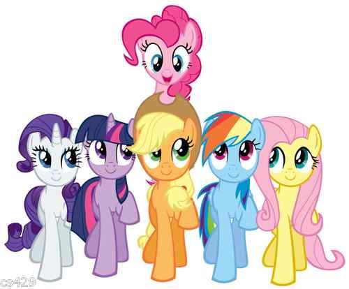 500x414 10 My Little Pony Group Wall Sticker Glossy Border Character Cut