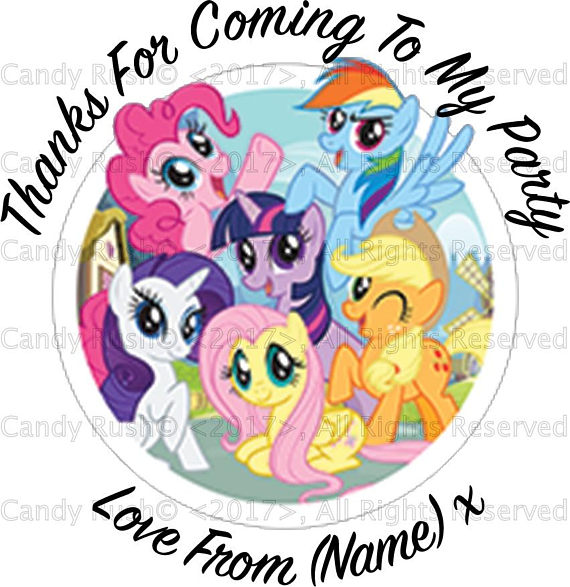 570x587 Personalised My Little Pony Birthday Party Stickers, Birthday