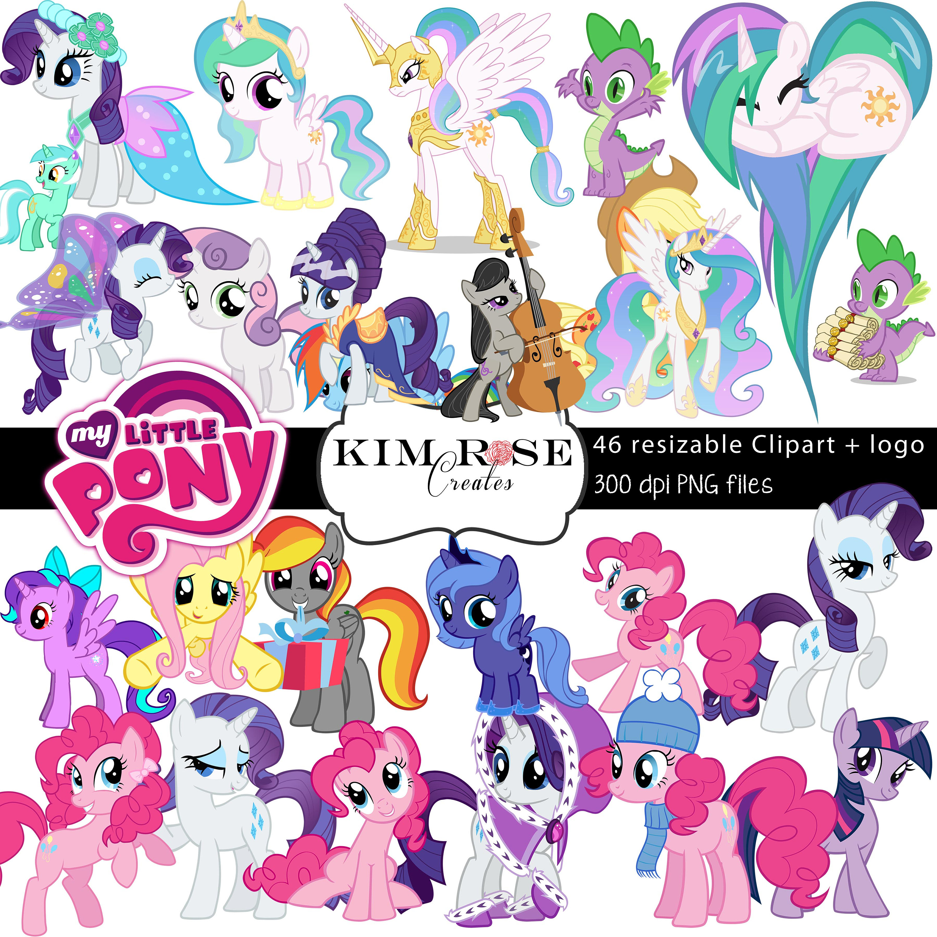 3000x3000 Huge Pack My Little Pony Clipart ~ 46 Ponies ~ 300 Dpi ~ Png Files