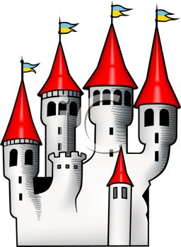 256x350 Fairytale Castle With Red Turrets And Flags Flying
