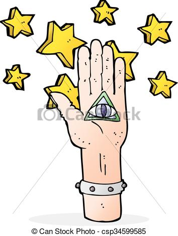 354x470 Cartoon Mystic Eye Hand Symbol Vector