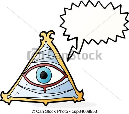 450x396 Cartoon Mystic Eye Symbol With Speech Bubble Clipart Vector