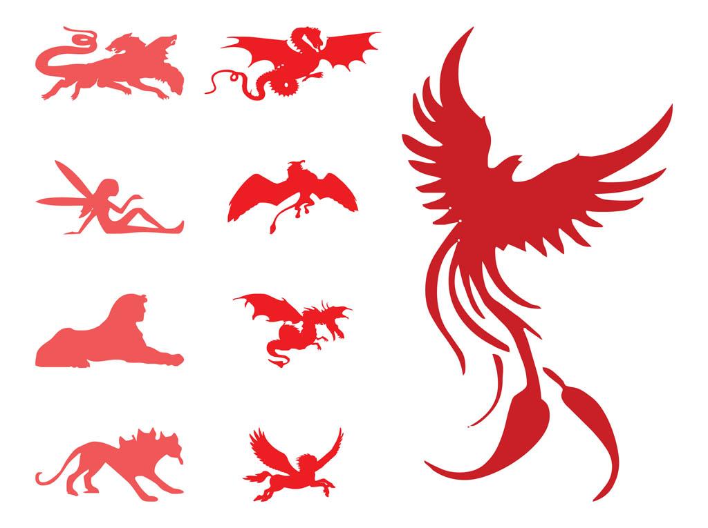 1024x765 Mythological Creature Set Vector Art Amp Graphics