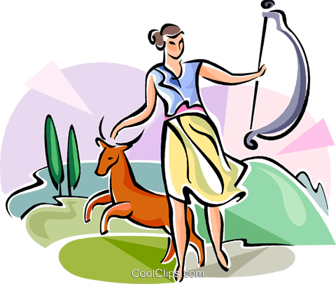 480x405 Greek Mythology Diana Royalty Free Vector Clip Art Illustration