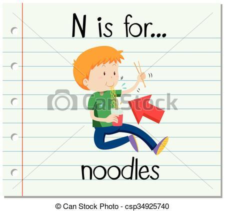 450x422 Flashcard Letter N Is For Noodles Illustration Eps Vector