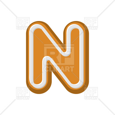 400x400 Letter N Gingerbread Font Royalty Free Vector Clip Art Image