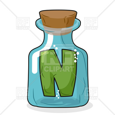 400x400 Letter N In Magical Bottle Royalty Free Vector Clip Art Image