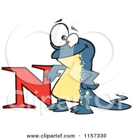 450x470 Cartoon Of A Happy Newt Leaning On The Letter N
