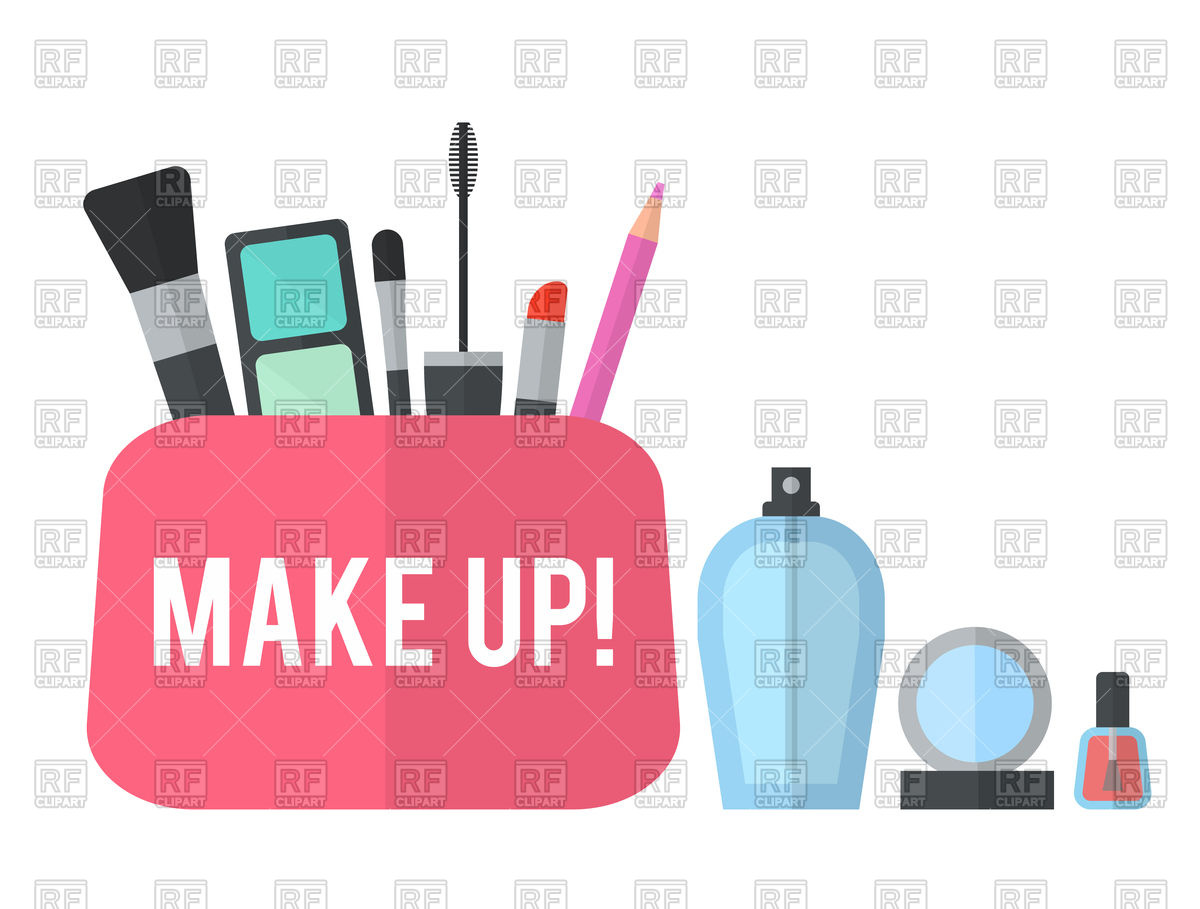 1200x909 Make Up Flat Icons With Lipstick, Palette, Perfume, Nail Polish