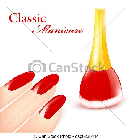 450x470 Red Nail Polish In Classic Manicure Illustration Eps Vector