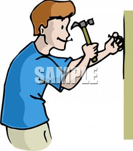 263x300 A Man Hammering A Nail In Wall Clipart Image