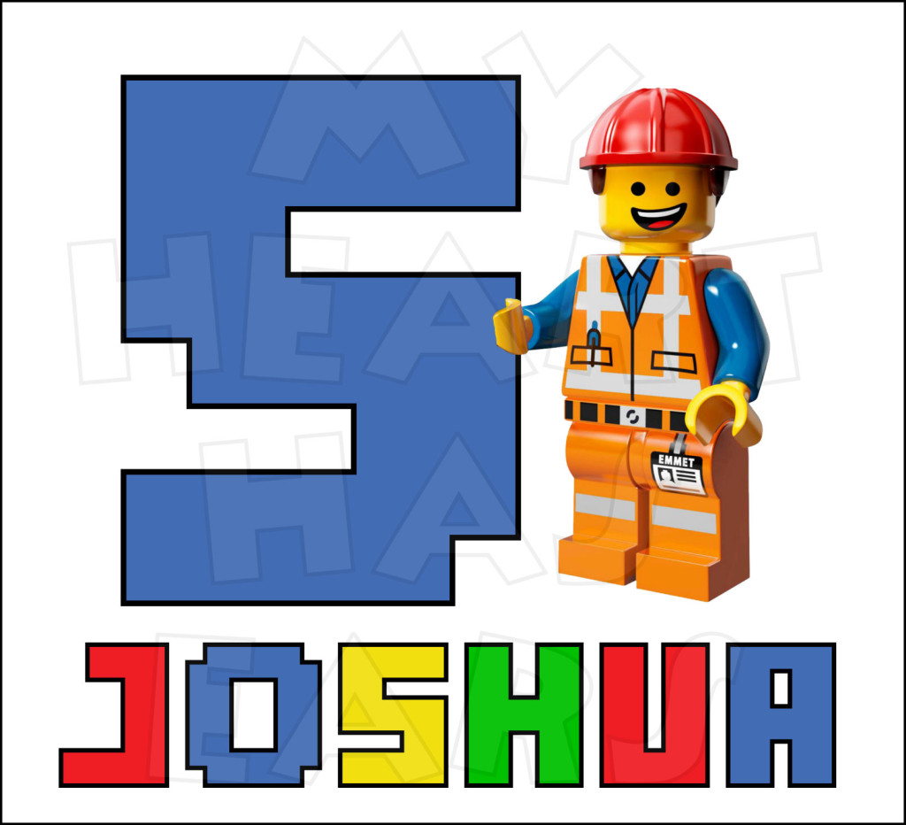 1024x932 Emmet From The Lego Movie Any Name And Number Personalized Digital