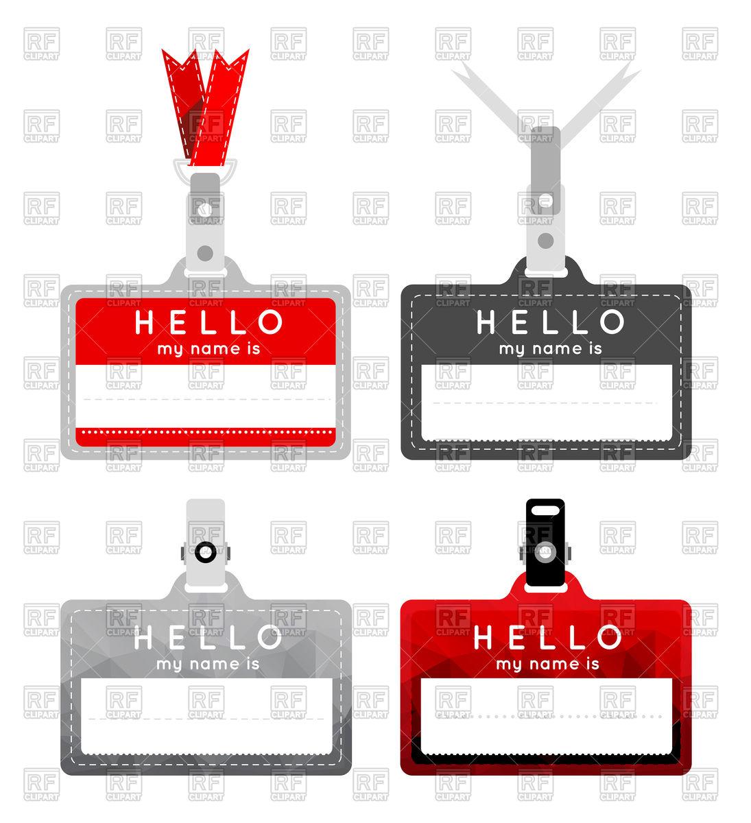 1095x1200 Name Tag Set Royalty Free Vector Clip Art Image