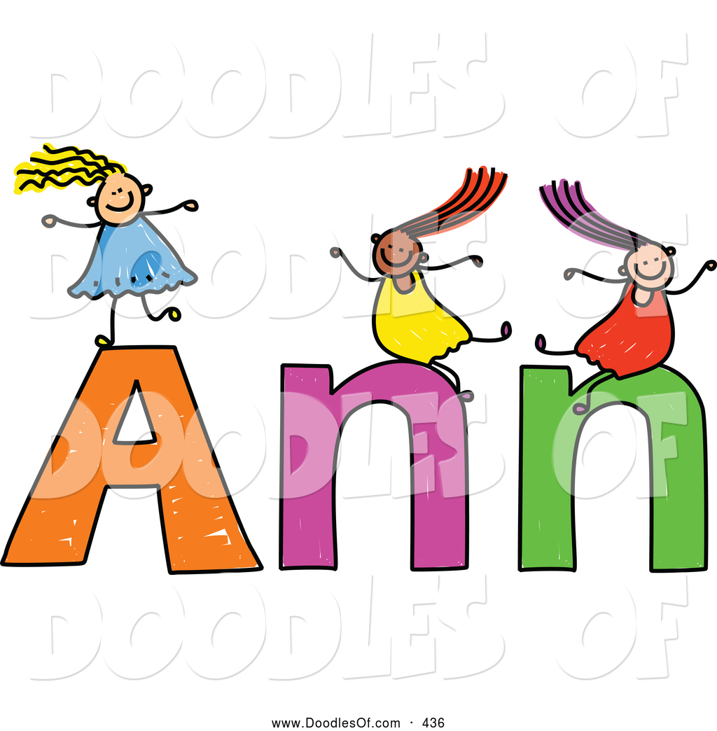 1024x1044 Vector Clipart Of A Childs Sketch Of Friendly Girls Playing On