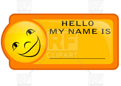 400x283 Orange Name Tag With Smiley Royalty Free Vector Clip Art Image
