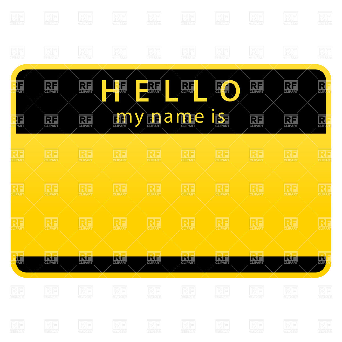 1200x1200 Yellow Name Tag With Word Hello Royalty Free Vector Clip Art