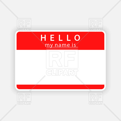 400x400 Blank Name Tag With Inscription Hello Royalty Free Vector Clip