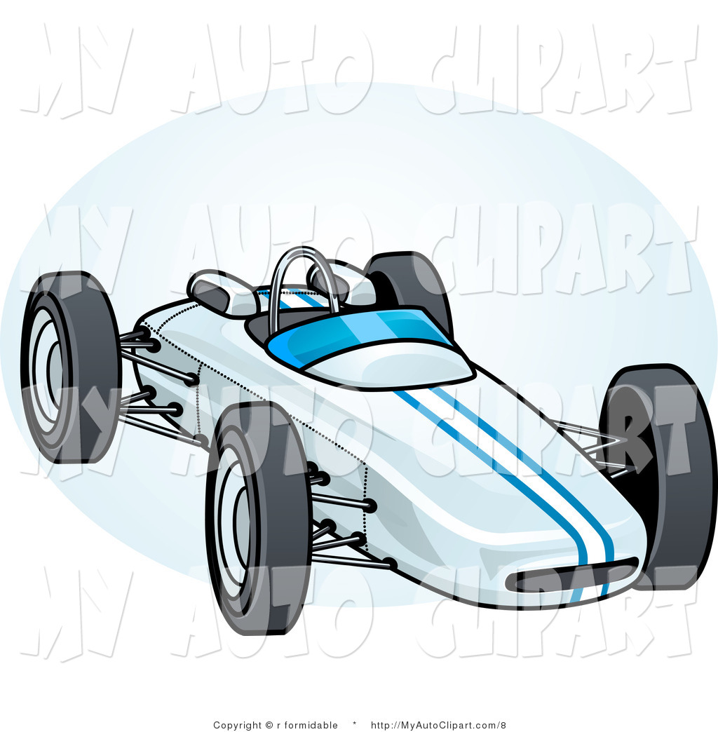 1024x1044 Vector Clip Art Of A White Race Car With Blue Stripes By R