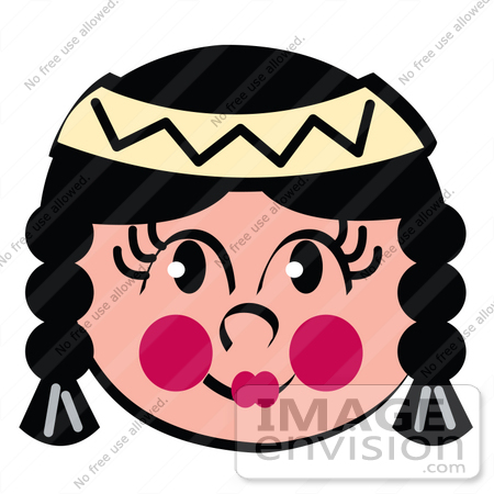 450x450 Clip Art Graphic Of A Cute Little Native American Indian Girl
