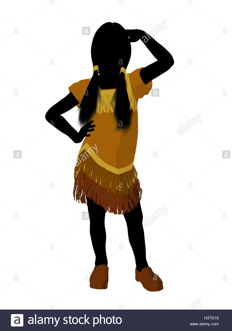 975x1390 Native American Indian Art Illustration Silhouette Stock Photo