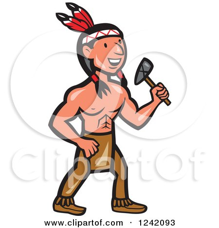 450x470 Clipart Of Cartoon Nativemerican Indian Brave Holding