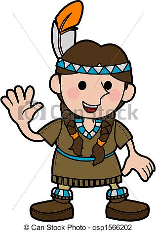 316x470 Illustration Of Girl In Native American Costume . Vector