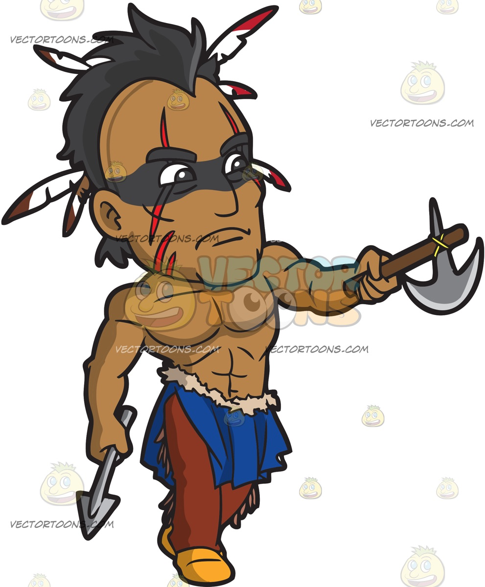 991x1200 A Taunting Native American Warrior Cartoon Clipart Vector Toons