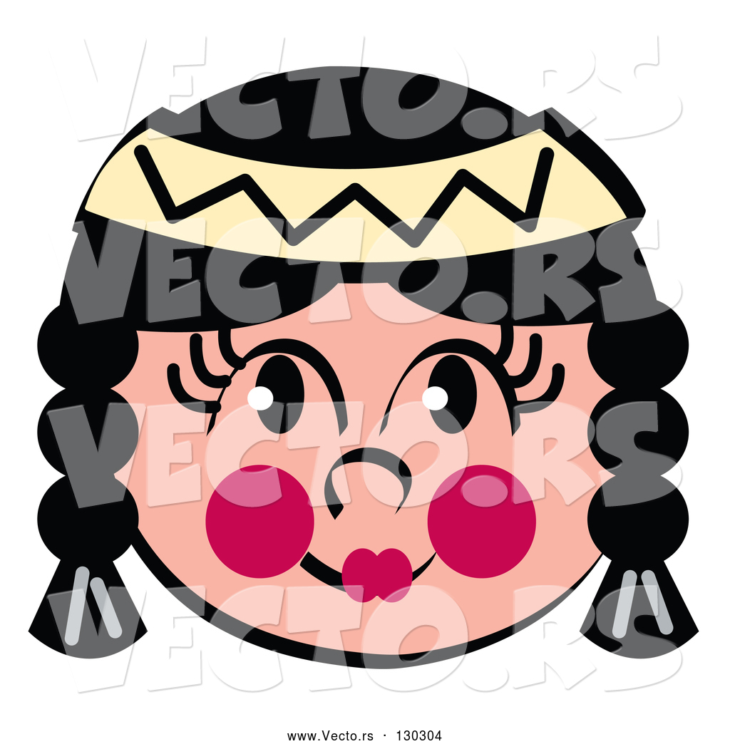 1024x1044 Vector Of Friendly Native American Indian Girl's Face With Braids