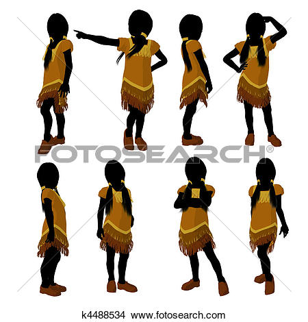 450x470 American Indian Girl Silhouette Clipart