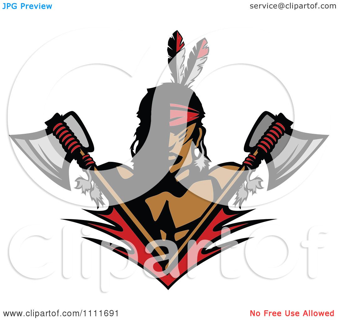 1080x1024 Clipart Native American Indian Brave Man With Crossed Axes