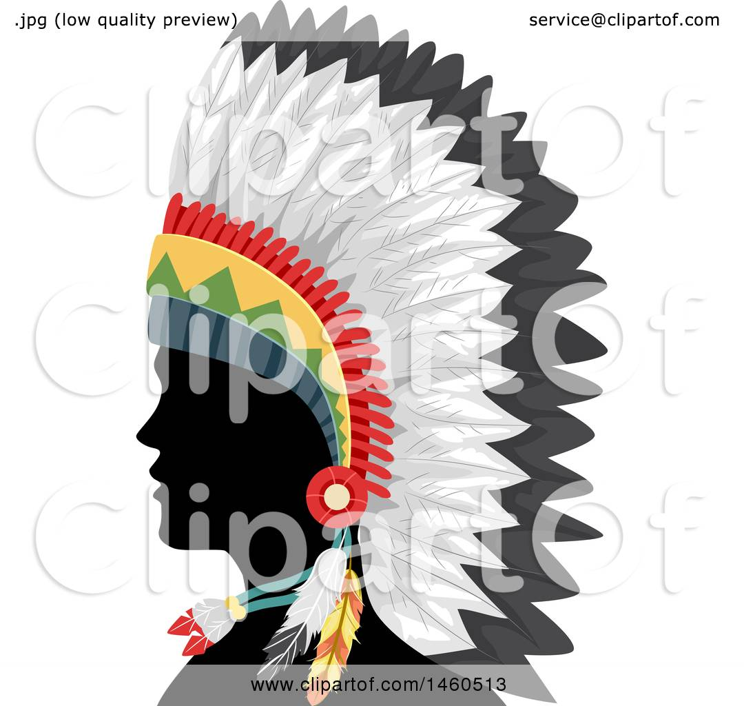1080x1024 Clipart Of A Silhouetted Native American Indian Man In A Feather