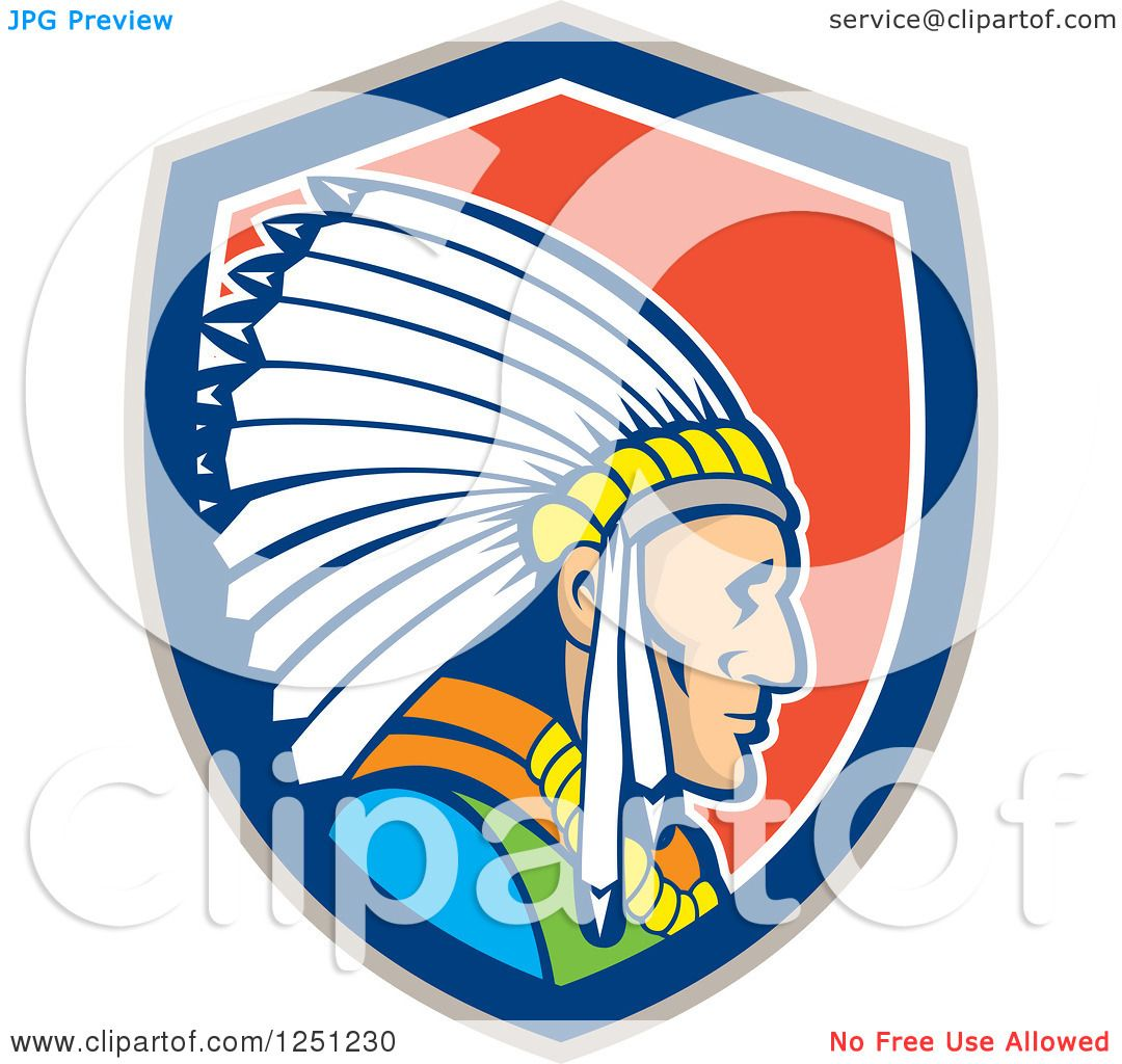 1080x1024 Clipart Of A Cartoon Native American Indian Chief In A Red White