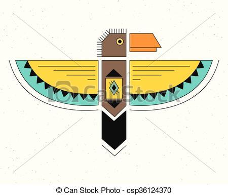 450x385 Linear Logo Thunderbird. Native American Indian Symbol