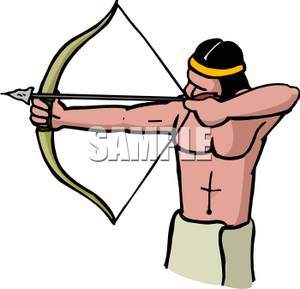 300x289 Native American Man Aiming A Bow And Arrow Royalty Free Clipart